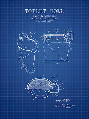 Toilet Bowl Patent From 1918 - Blueprint Art Print