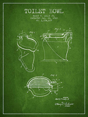 Toilet Bowl Patent From 1918 - Green Art Print