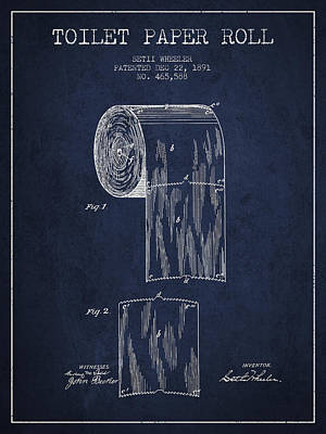Toilet Paper Roll Patent Drawing From 1891 - Navy Blue Art Print