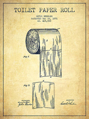 Distress Digital Art - Toilet Paper Roll Patent Drawing From 1891 - Vintage by Aged Pixel