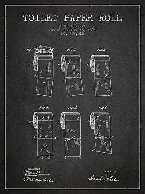 Toilet Paper Roll Patent From 1891 - Charcoal Art Print
