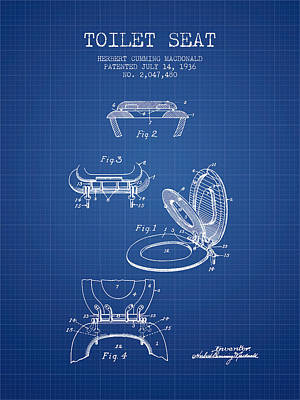 Toilet Seat Patent From 1936 - Blueprint Art Print