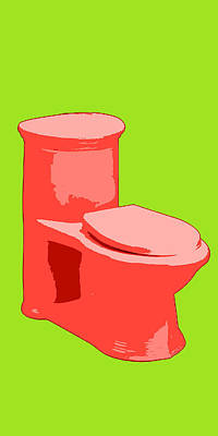Toilette In Red Art Print