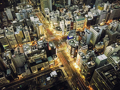 Tokyo Aerial View Street Art Print by Franckreporter