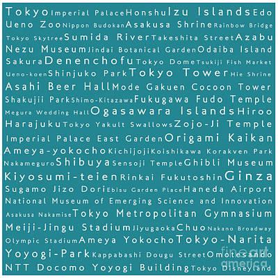 Tokyo In Words Teal Art Print