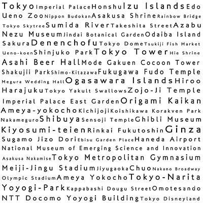 Tokyo In Words White Art Print