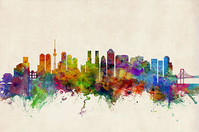 Watercolour Wall Art - Digital Art - Tokyo Japan Skyline by Michael Tompsett