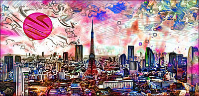 Tokyo Skyline Digital Art - Tokyo Metropolis by Daniel Janda