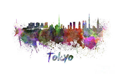 Tokyo Skyline In Watercolor Print by Pablo Romero