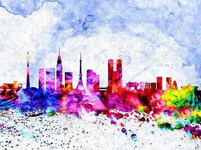 Tokyo Skyline Mixed Media - Tokyo Watercolor by Daniel Janda