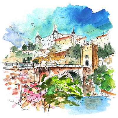 Townscapes Drawing - Toledo 01 by Miki De Goodaboom