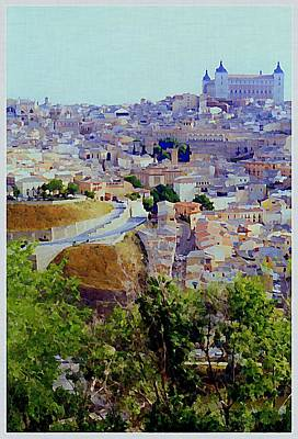 Inquisition Painting - Toledo Spain In Blue by Mindy Newman