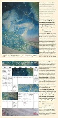 Bilbo Painting - Tolkien Hobbit Calendar Bard And The Master Of Lake-town From Oxford Bi-fold November by Glen McDonald