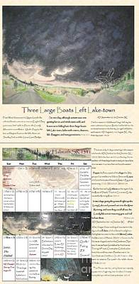 Bilbo Painting - Tolkien Hobbit Calendar Three Large Boats Left Lake-town Bi-fold September by Glen McDonald