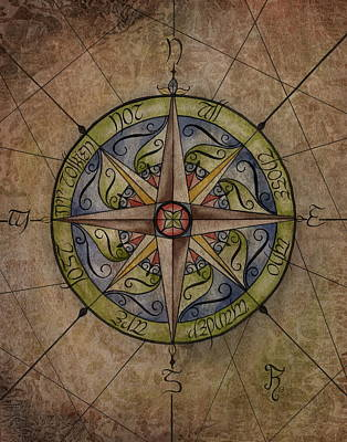 Jrr Painting - Tolkien's Compass by Kyla Ryan