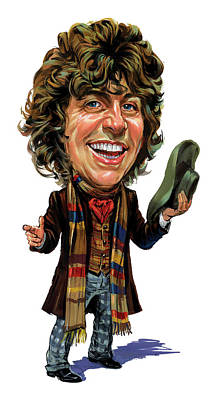 Comics Royalty-Free and Rights-Managed Images - Tom Baker as The Doctor by Art
