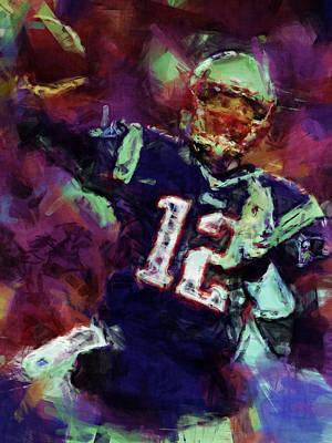 Gray Abstract Digital Art - Tom Brady Abstract 1 by David G Paul