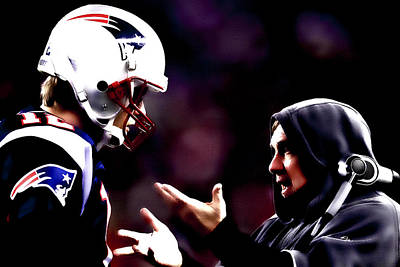 Randy Moss Digital Art - Tom Brady And Coach by Brian Reaves