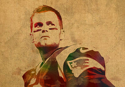 Tom Brady New England Patriots Quarterback Watercolor Portrait On Distressed Worn Canvas Art Print by Design Turnpike