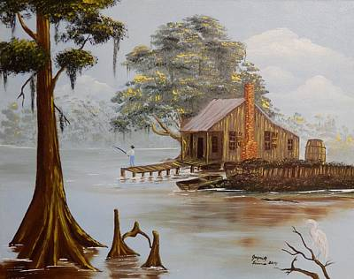 Louisiana Alligator Painting - Tom Fishing On The Bayou by Jaynell Firmin