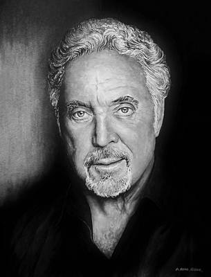 Painting - Tom Jones The Voice Bw by Andrew Read