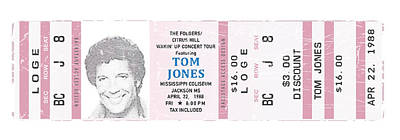 The Hills Digital Art - Tom Jones 1988 Ticket Stub Poster by Alain Jamar