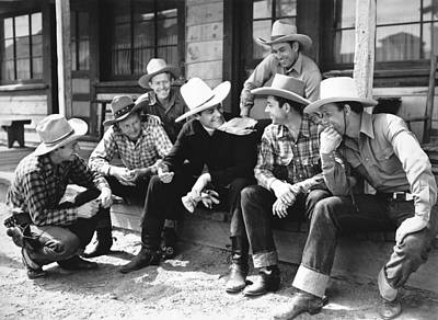Cowboy Hat Photograph - Tom Mix And Cowboys by Underwood Archives