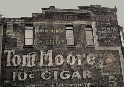 Photograph - Tom Moore Ten Cent Cigar Black And White by Anne Cameron Cutri