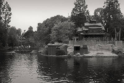 Bobsled Photograph - Tom Sawyer Island Frontierland Disneyland Bw by Thomas Woolworth