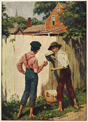 Fence Drawing - Tom Sawyer Tom And Joe Tell by Mary Evans Picture Library