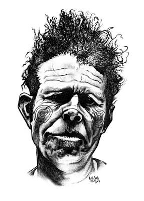 Famous Faces Drawing - Tom Waits by Kelly Jade King