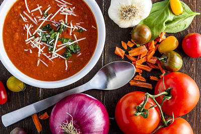 Autumn Soup Photograph - Tomato And Basil Soup by Teri Virbickis