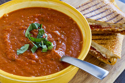 Tomato And Basil Soup With Grilled Cheese Panini Print by Teri Virbickis