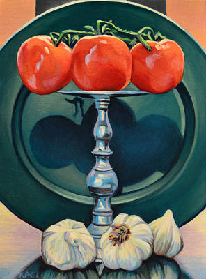 Tomato And Garlic Print by Kenneth Cobb