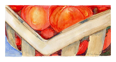 Wall Art - Painting - Tomato Basket by Elle Smith Fagan