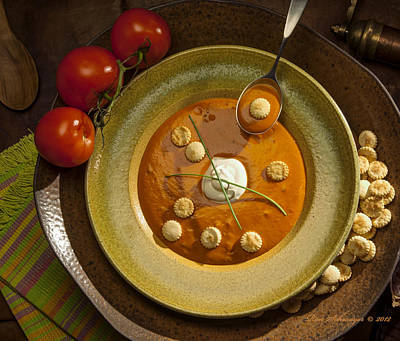 Sour Photograph - Tomato Bisque Soup by Ron Schwager