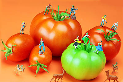 Painting - Tomato Harvest Little People On Food by Paul Ge