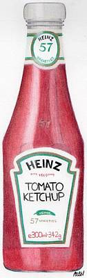 Drawing - Tomato Ketchup by Bav Patel