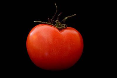 Tomato On Black Art Print by Jeremy Voisey
