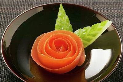 Tomato Rose And Carved Cucumber Leaves Art Print