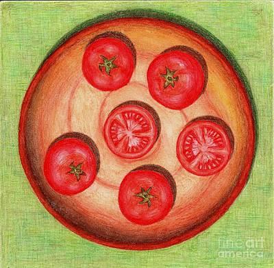 Tomato Drawing - Tomatoes by Alena Fotkova