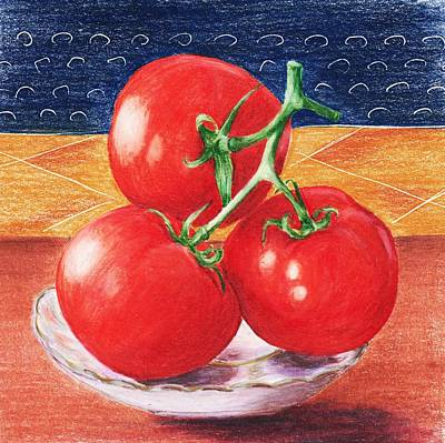 Decorative Drawing - Tomatoes by Anastasiya Malakhova