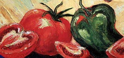 Tomatoes And Green Pepper Art Print by Paris Wyatt Llanso