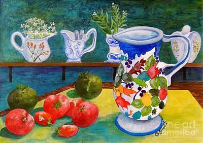 Tableware Painting - Tomatoes And Milk Jugs by Caroline Street