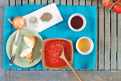 Paste Photograph - Tomatoes And Onions by Tom Gowanlock