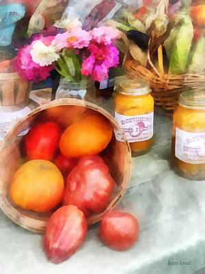 Vegetable Stand Photograph - Tomatoes And Peaches by Susan Savad
