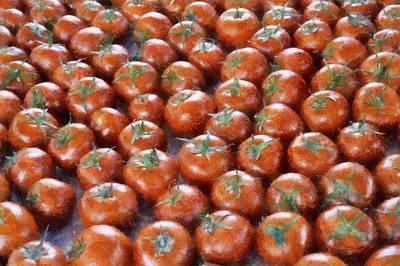 Scallion Photograph - Tomatoes At The Market by Michelle Calkins