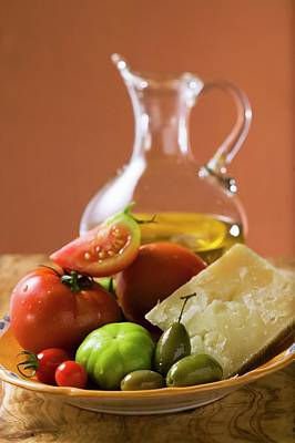 Tomatoes, Green Olives And Parmesan On Plate, Olive Oil Art Print