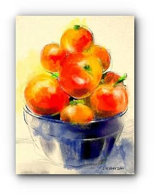 Crocks Drawing - Tomatoes In Blue Bowl by Sue Roberson