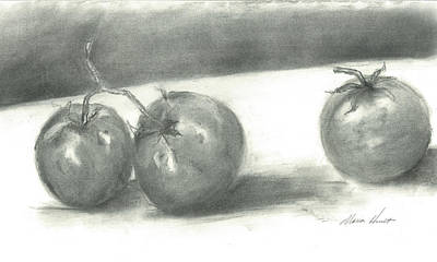 Tomatoes In Charcoal Original by Maria Hunt